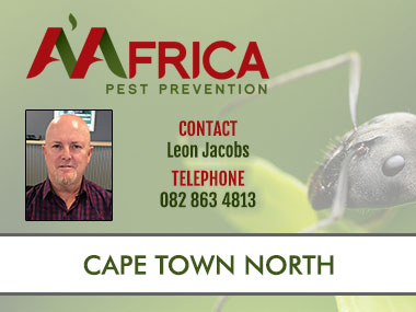 A'Africa Cape Town North - Contact A'Africa Pest Prevention for Pest Control in Cape Town North. We specialise in general pest control, weed control, contract cleaning, termite and rodent control. Contact us for all your Pest Control Needs in Cape Town and surrounding areas.