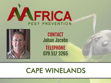 A'Africa Cape Winelands - Contact A'Africa Pest Prevention for Pest Control in the Cape Winelands. We specialise in general pest control, weed control, contract cleaning, termite and rodent control. Contact us for all your Pest Control Needs in the Cape Winelands and surrounds.