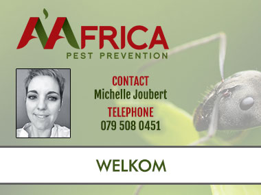 A'Africa Welkom - Contact A'Africa Pest Prevention for Pest Control in Welkom. We specialise in general pest control, weed control, contract cleaning, termite and rodent control. Contact us for all your Pest Control Needs in Welkom and surrounding areas.